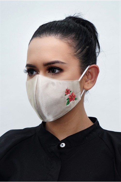 Ear Loop - Hibiscus Embroidered Mask (Dark Gold)