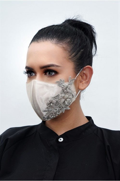 Ear Loop - 3D Lace Mask (Dark Gold)