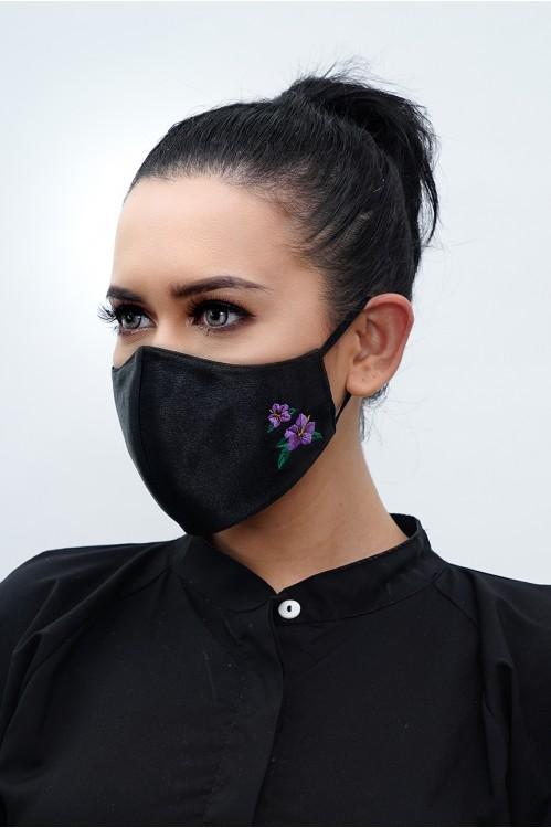 Ear Loop - Hibiscus Embroidered Mask (Black)