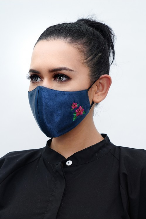 Ear Loop - Hibiscus Embroidered Mask (Navy)