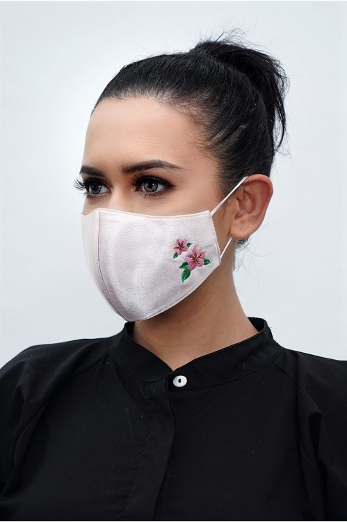 Ear Loop - Hibiscus Embroidered Mask (Nude Blush)
