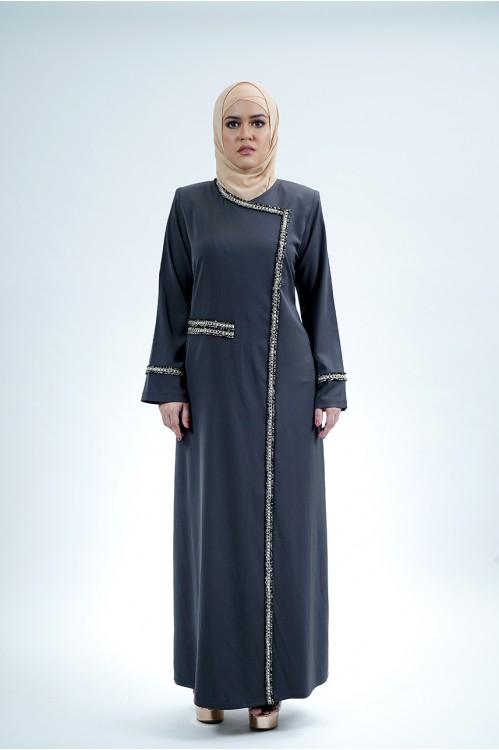 Tweed Trim Jubah (Charcoal)