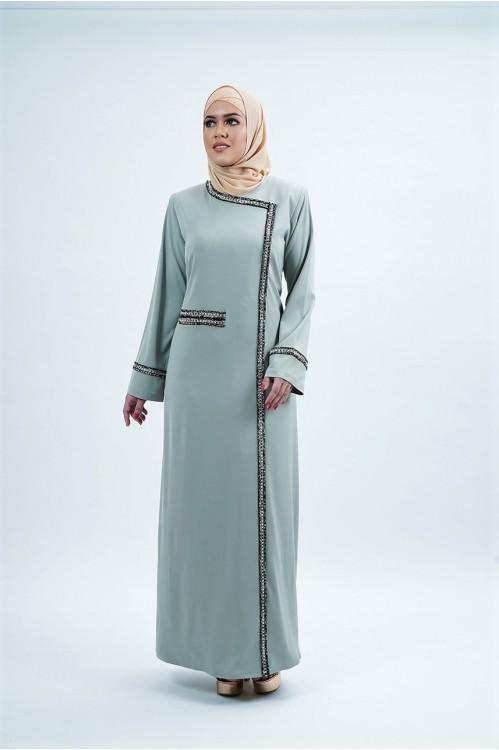 Tweed Trim Jubah (Light Olive)